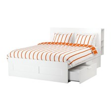 Bed frame with storage & headboard, white